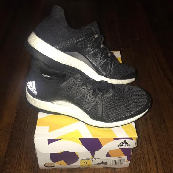 cheap for discount 1caac bea4c Women's Adidas Pure Boost Black Running Shoes
